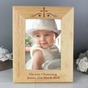 Personalised Religious Swirl 5×7 Wooden Photo Frame