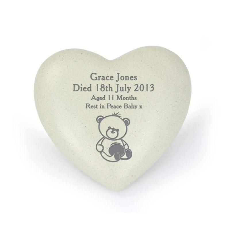 Personalised Teddy Bear Heart Memorial