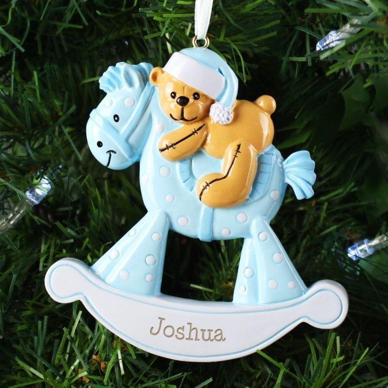 Personalised Blue Rocking Horse Resin Decoration