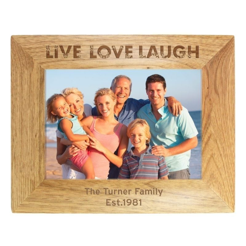 Personalised Live Laugh Love 7x5 Wooden Photo Frame