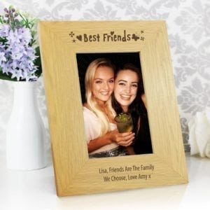 Personalised Oak Finish 4x6 Best Friends Photo Frame