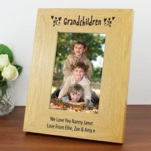 Personalised Oak Finish 4x6 Grandchildren Photo Frame