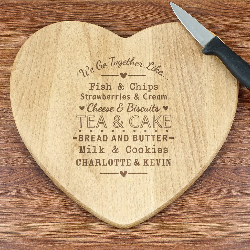Personalised We Go Together Like... Heart Chopping Board