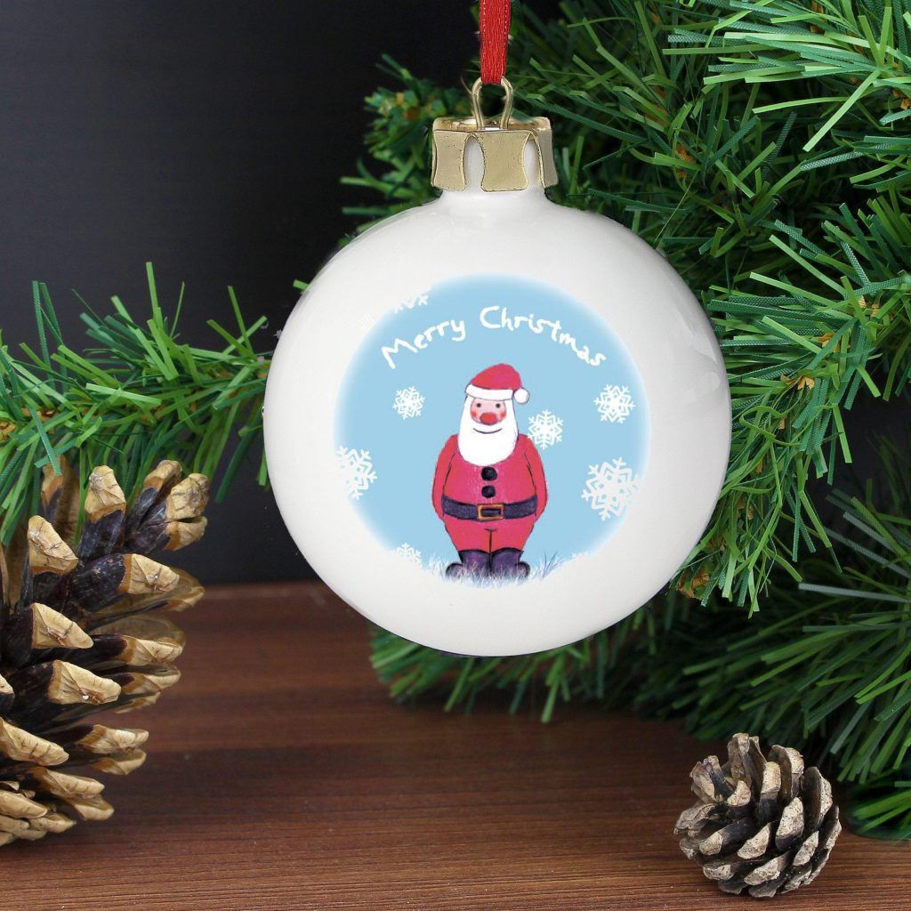 Personalised Snow Scene Santa Bauble