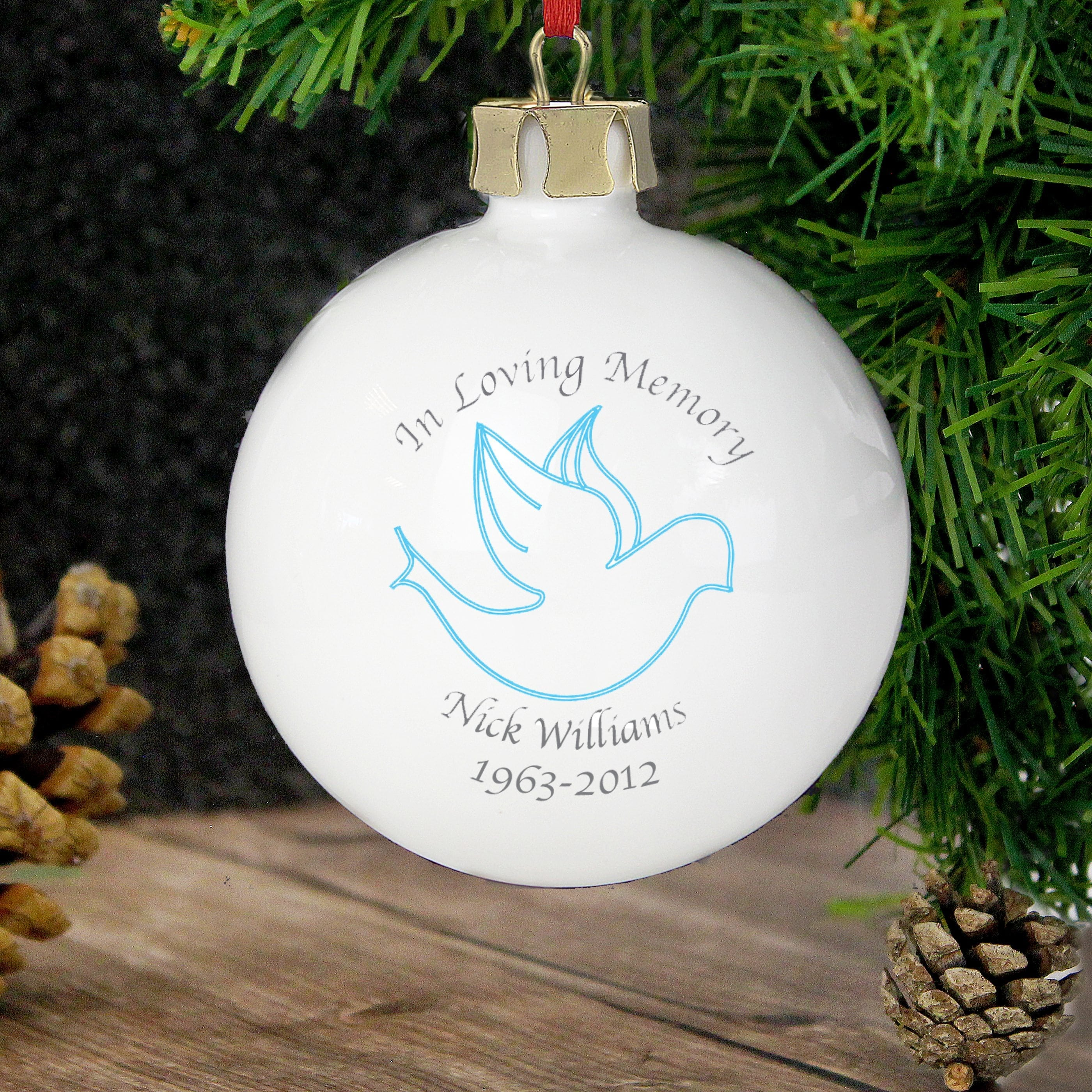 Personalised In Loving Memory Blue Bauble • For You