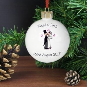 Personalised Cartoon Couple Keepsake Bauble
