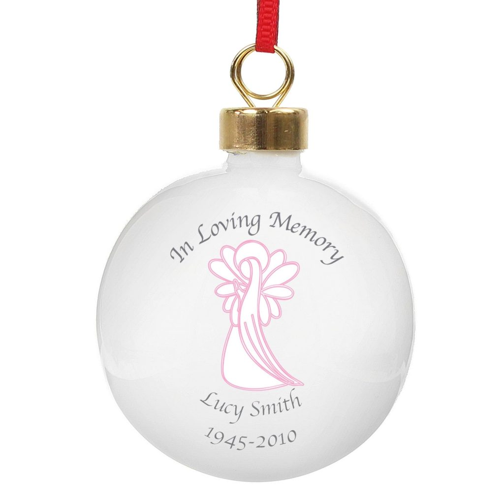 Personalised In Loving Memory Pink Angel Bauble