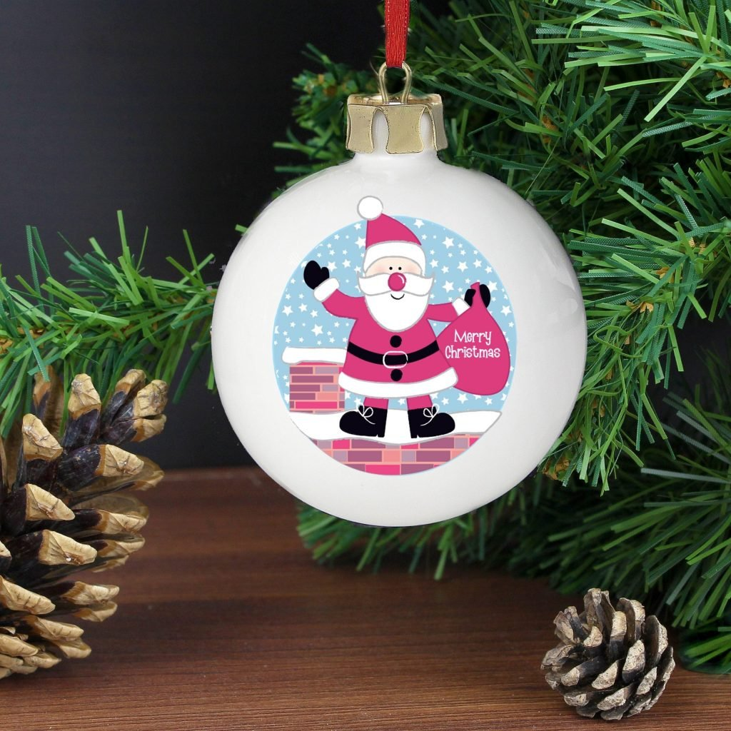 Personalised Rooftop Santa Christmas Bauble