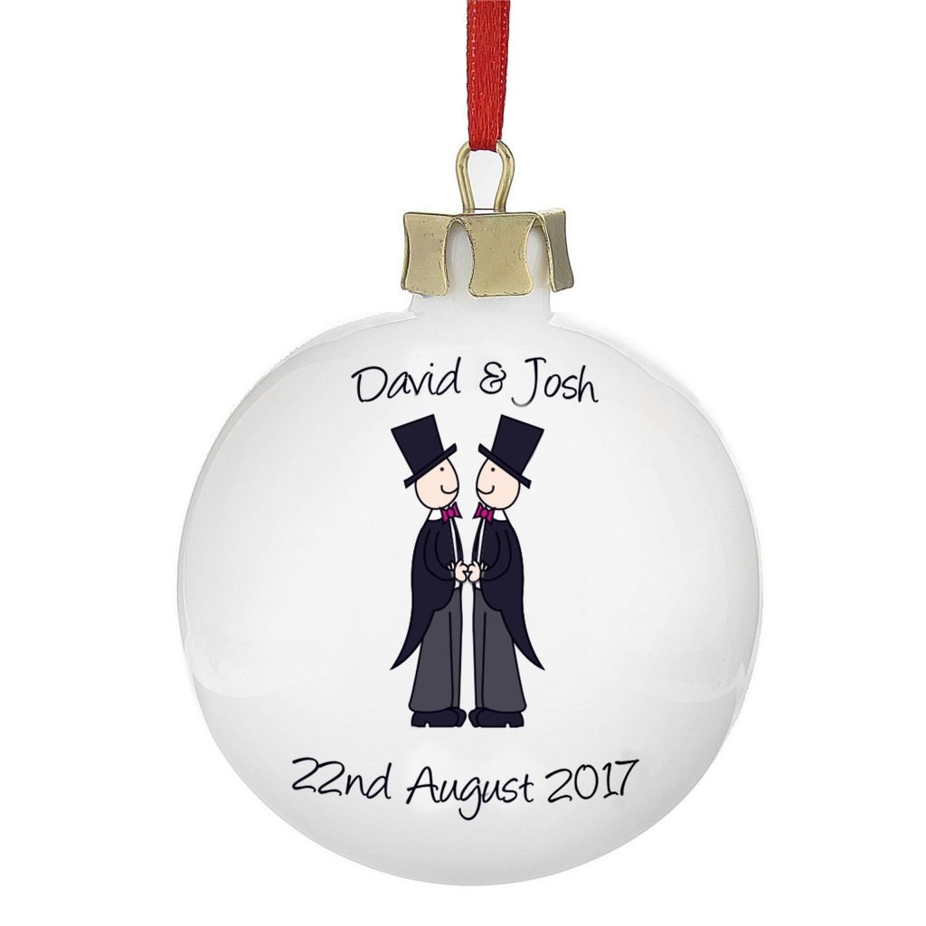 Personalised Male Same-Sex Wedding Bauble