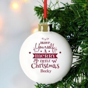 Personalised Merry Little Christmas Bauble