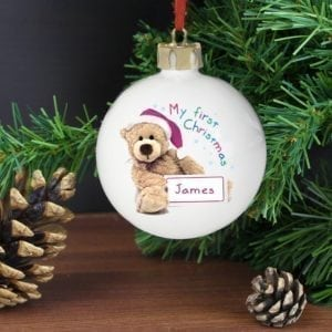Personalised Teddy 1st Christmas Bauble