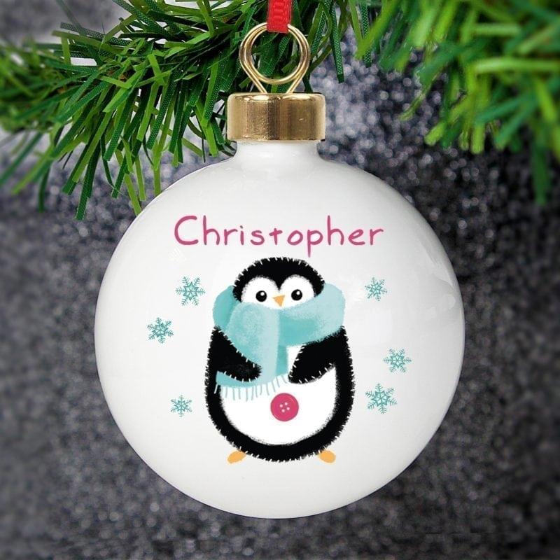 Personalised Felt Stitch Penguin Bauble