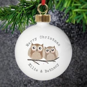 Personalised Woodland Owl Bauble
