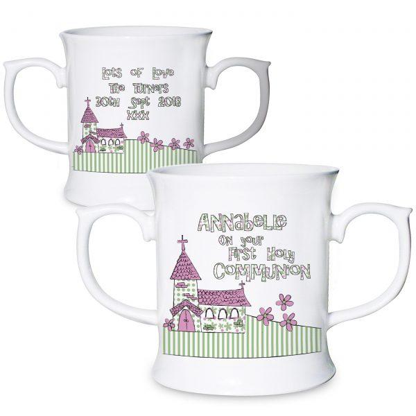 Personalised Whimsical Church Pink 1st Holy Communion Loving Mug