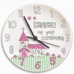 Personalised Whimsical Church Christening Clock