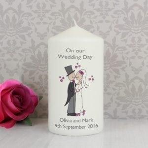 Personalised Cartoon Couple Candle