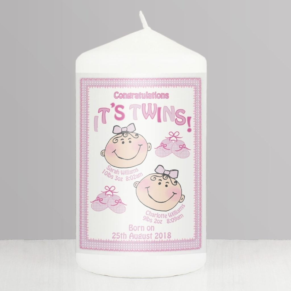 Personalised It's Twins Candle pink