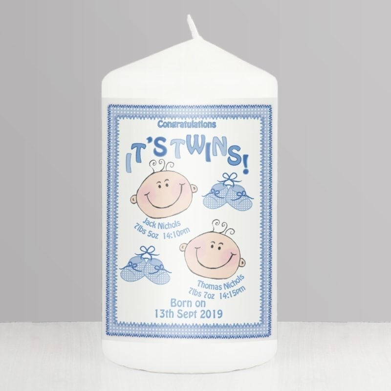 Personalised It's Twins Candle blue