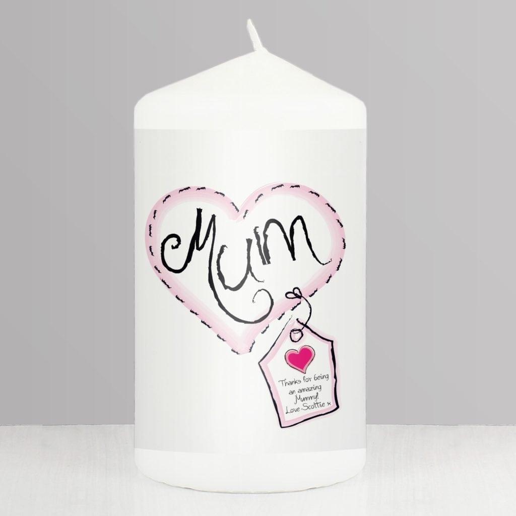 Personalised Heart Stitch Mum Candle