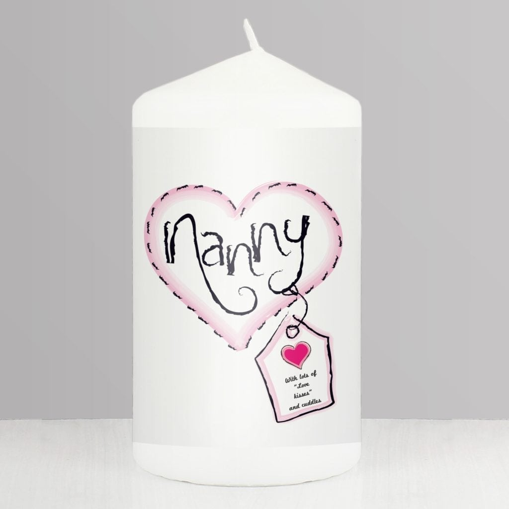 Personalised Heart Stitch Nanny Candle