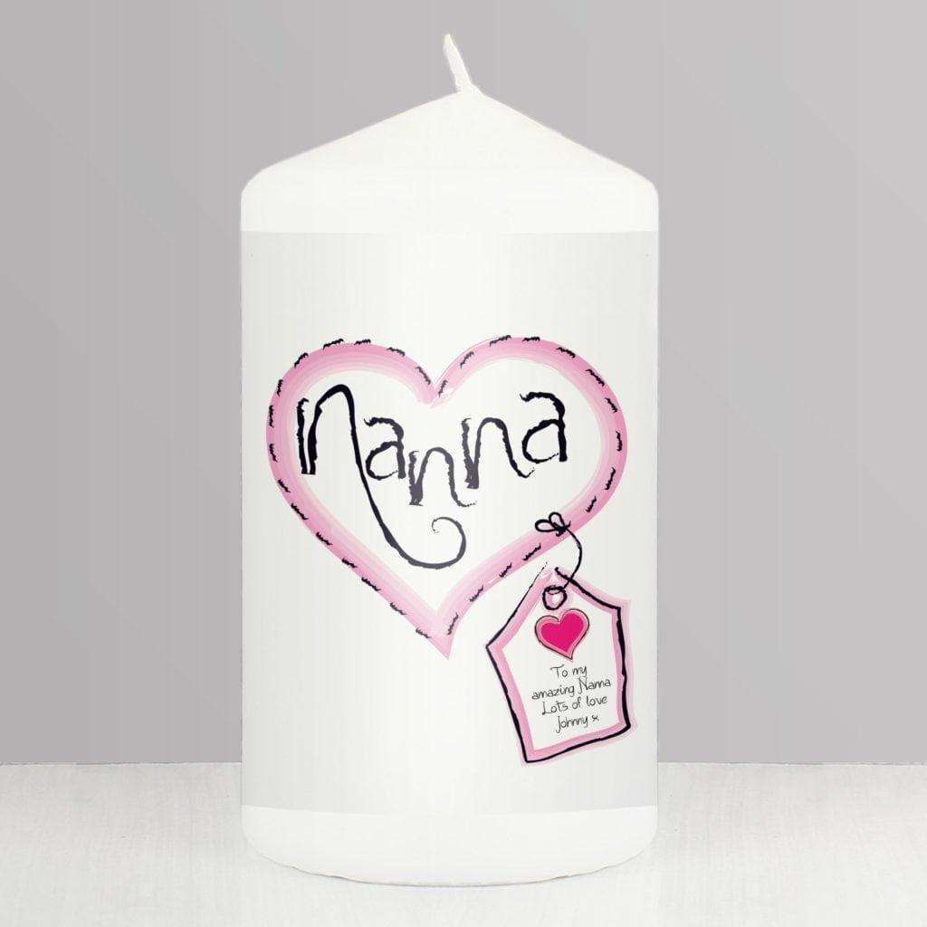 Personalised Heart Stitch Nanna Candle