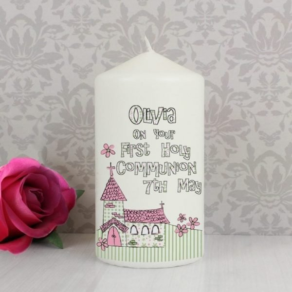 Personalised Whimsical Church Pink 1st Holy Communion Candle