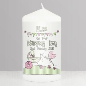 Personalised Whimsical Pram Candle