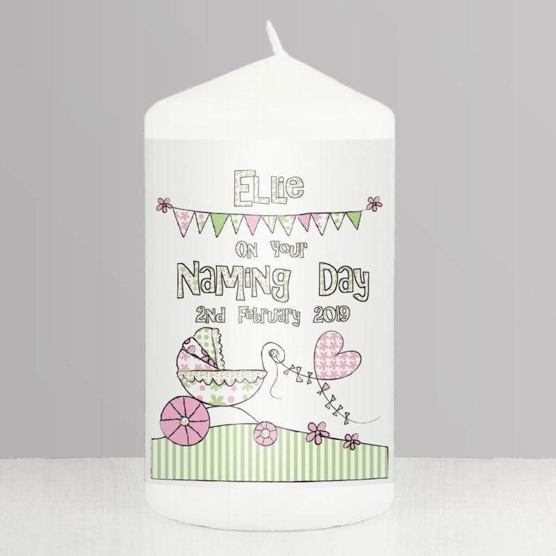 Personalised Whimsical Pram Candle