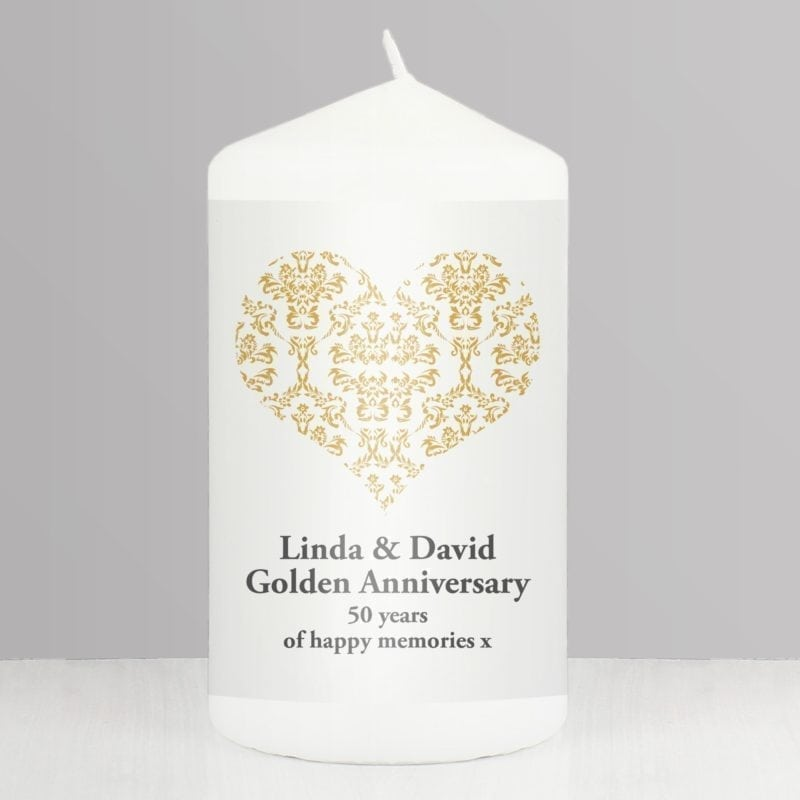 Personalised Gold Damask Heart Candle