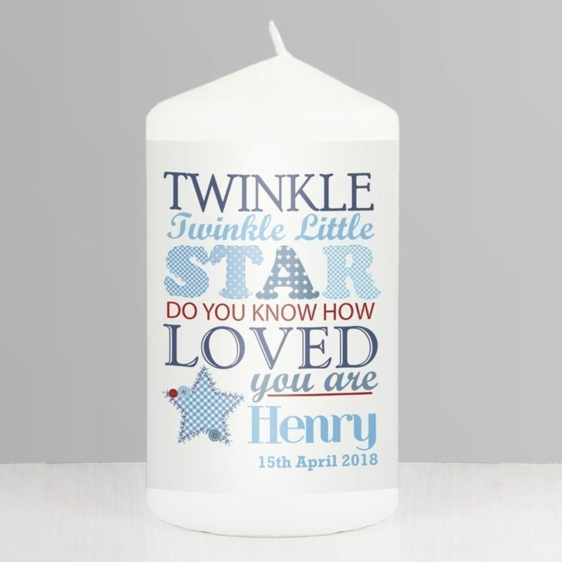 Personalised Twinkle Boys Candle