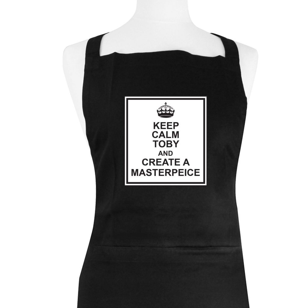 Personalised Keep Calm Black Apron
