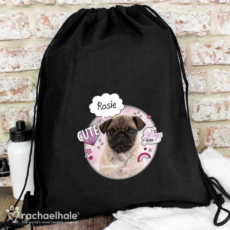 Personalised Rachael Hale Doodle Pug Black Swim & Kit Bag