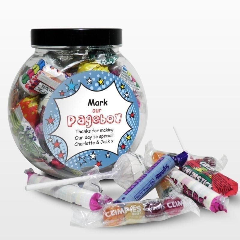 Personalised Comic Pageboy Sweet Jar