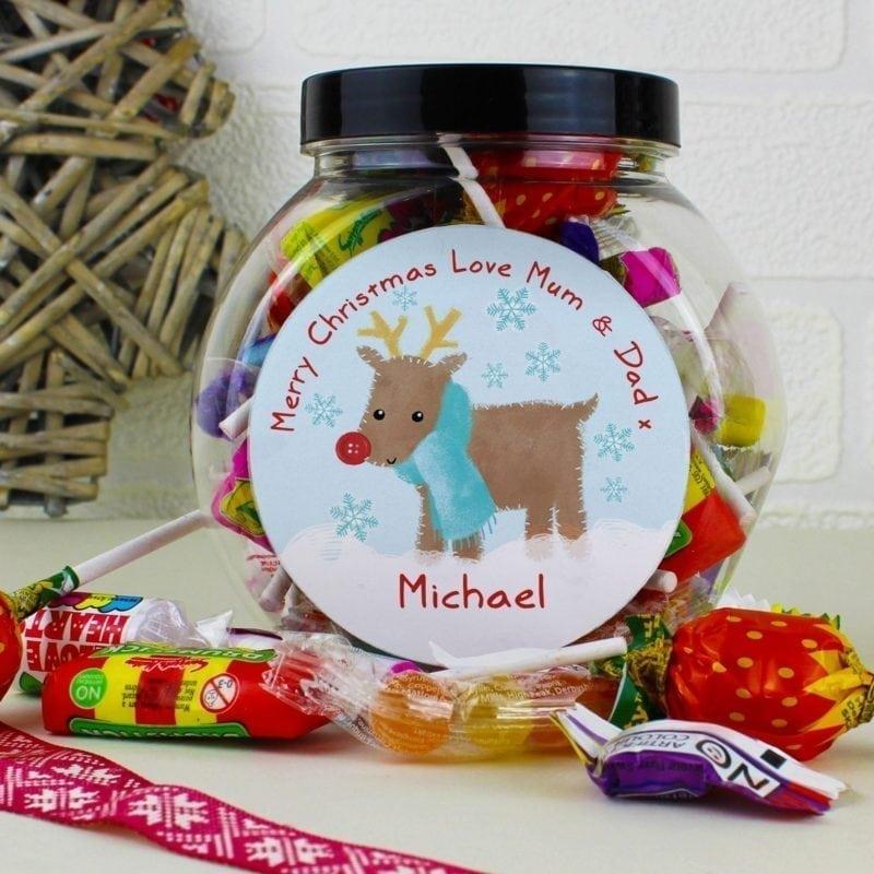 Personalised Felt Stitch Reindeer Sweet Jar