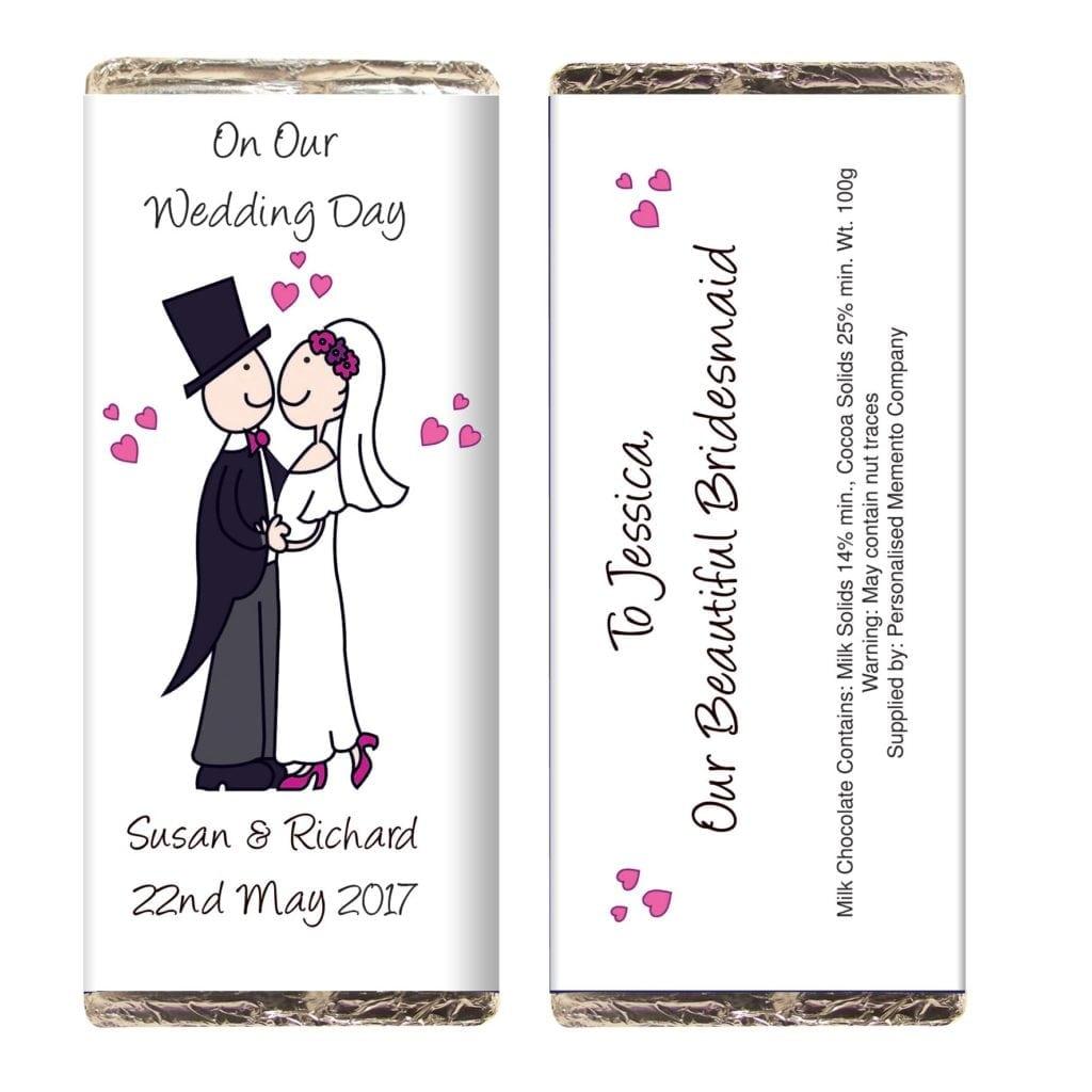 Personalised Cartoon Wedding Milk Chocolate Bar