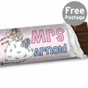 Personalised Bang on the Door Wedding Bride Milk Chocolate Bar