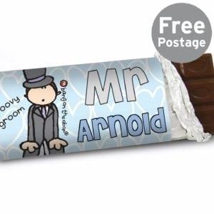 Personalised Bang on the Door Wedding Groom Milk Chocolate Bar