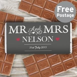 Personalised Mr & Mrs Milk Chocolate Bar