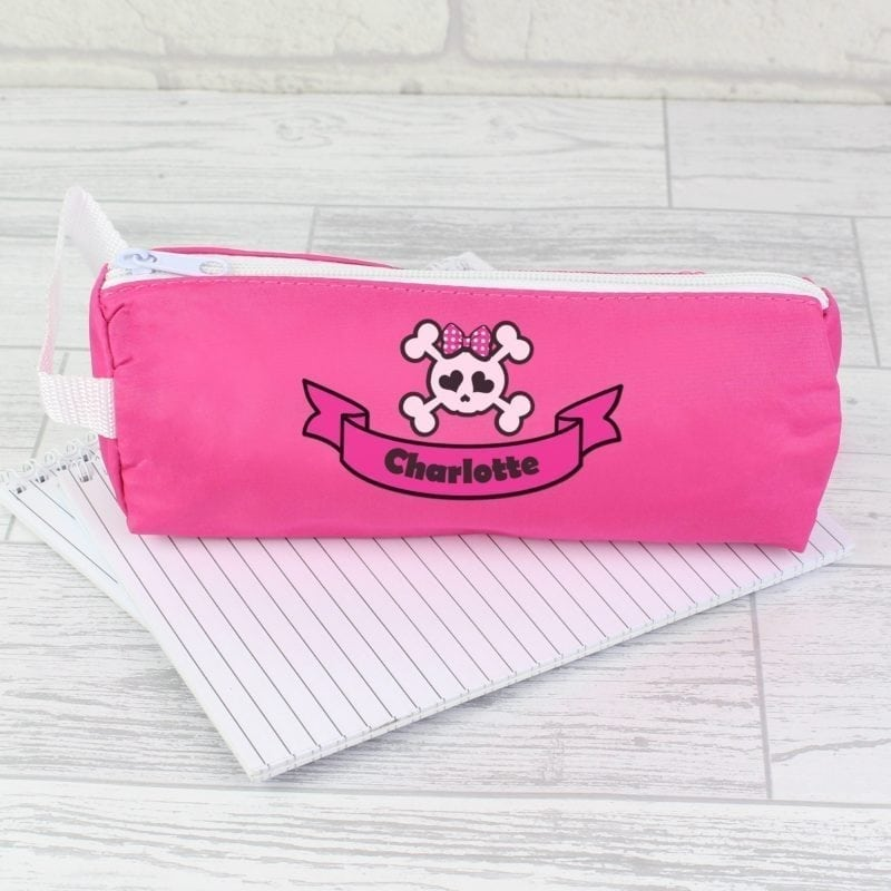 Personalised Pink Girls Skull & Cross Bone Pencil Case