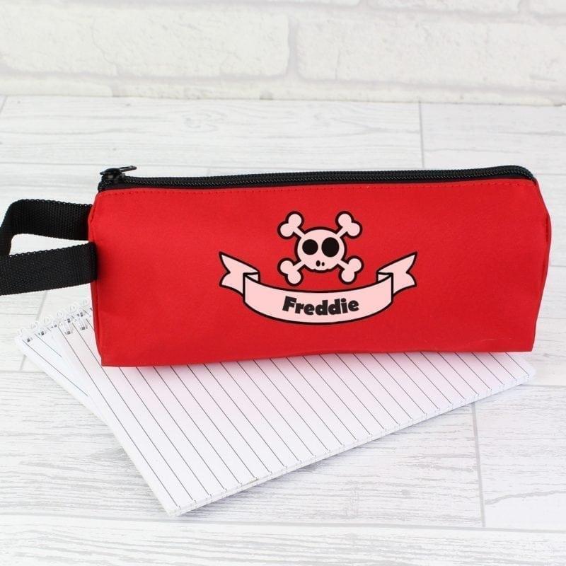 Personalised Red Boys Skull & Cross Bone Pencil Case