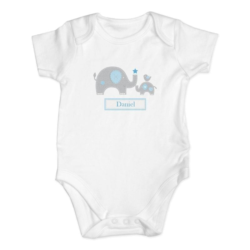 Personalised Blue Elephant 0-3 Months Baby Vest