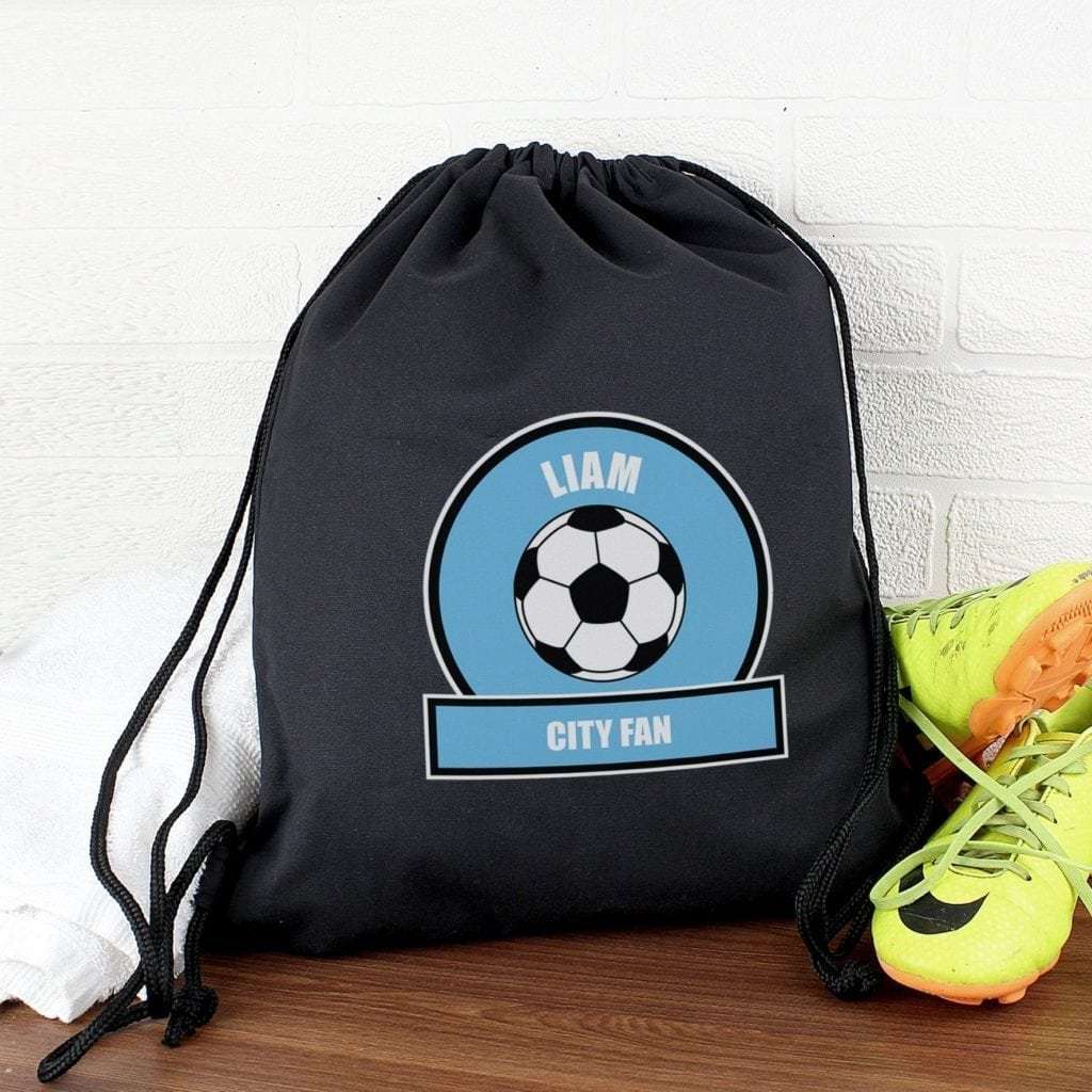 Personalised Sky Blue Football Fan Swim & Kit Bag