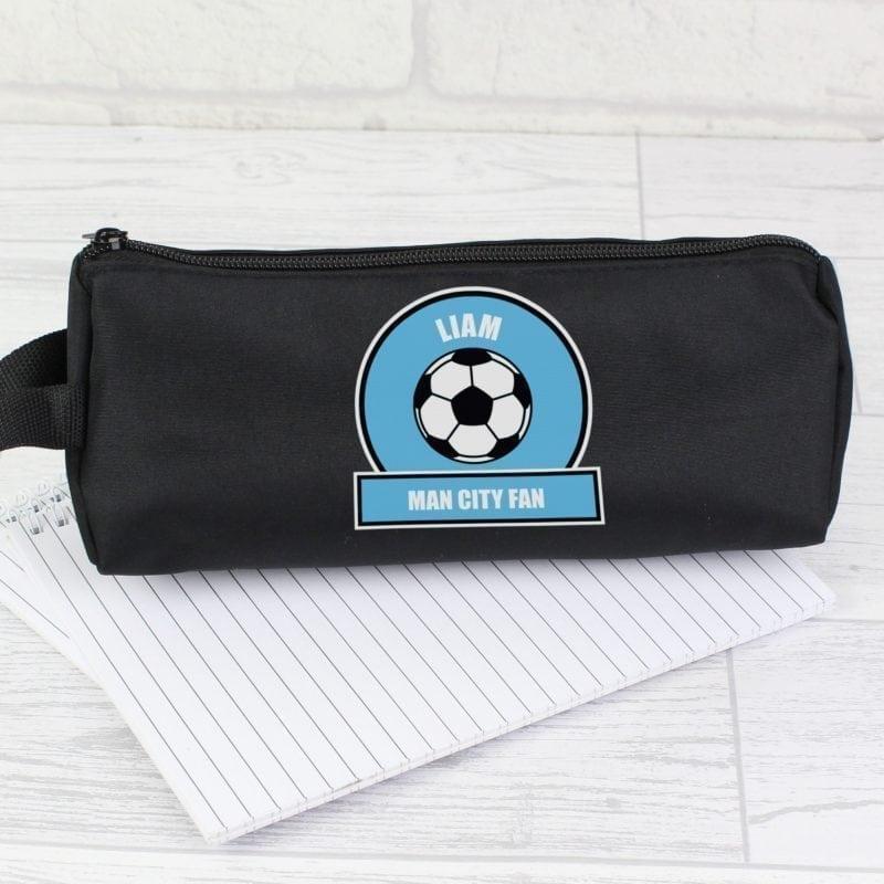 Personalised Sky Blue Football Fan Pencil Case