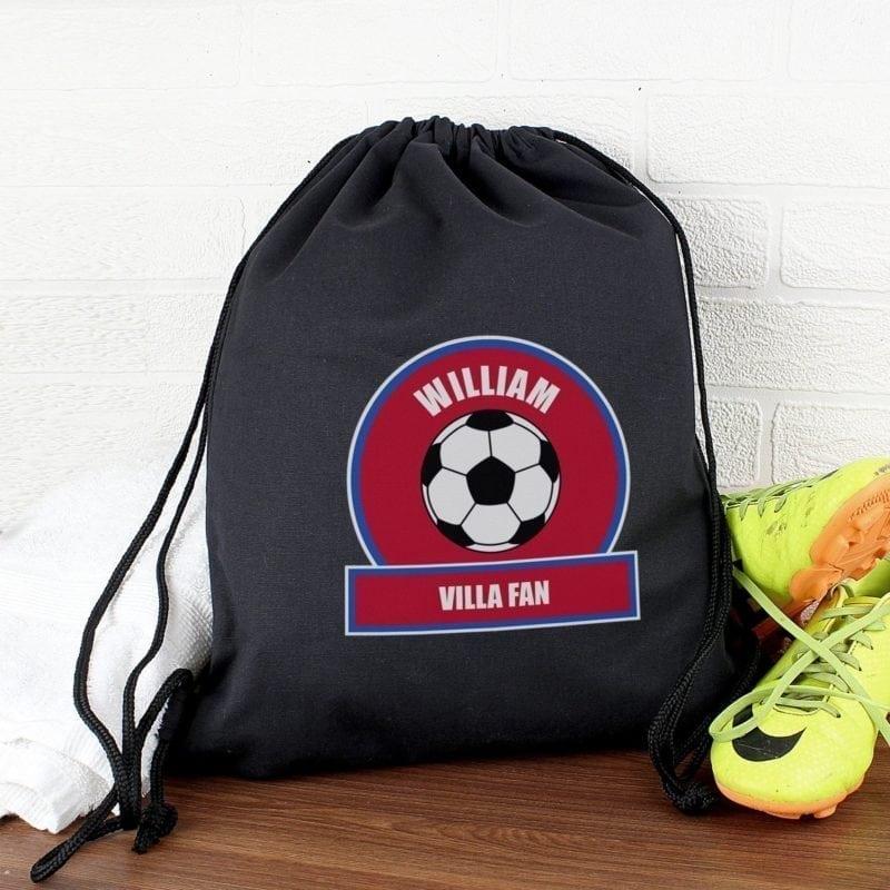 Personalised Claret and Blue Football Fan Swim & Kit Bag