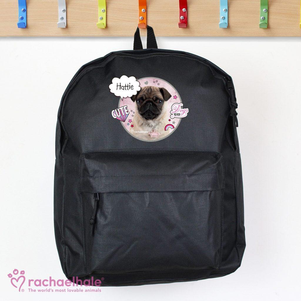 Personalised Rachael Hale Doodle Pug Black Backpack