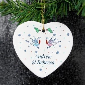 Personalised Couple's Christmas Heart Decoration