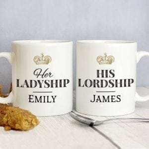 Personalised Ladyship and Lordship Mug Set