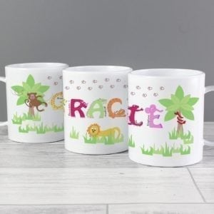 Personalised Animal Alphabet Plastic Cup Girls