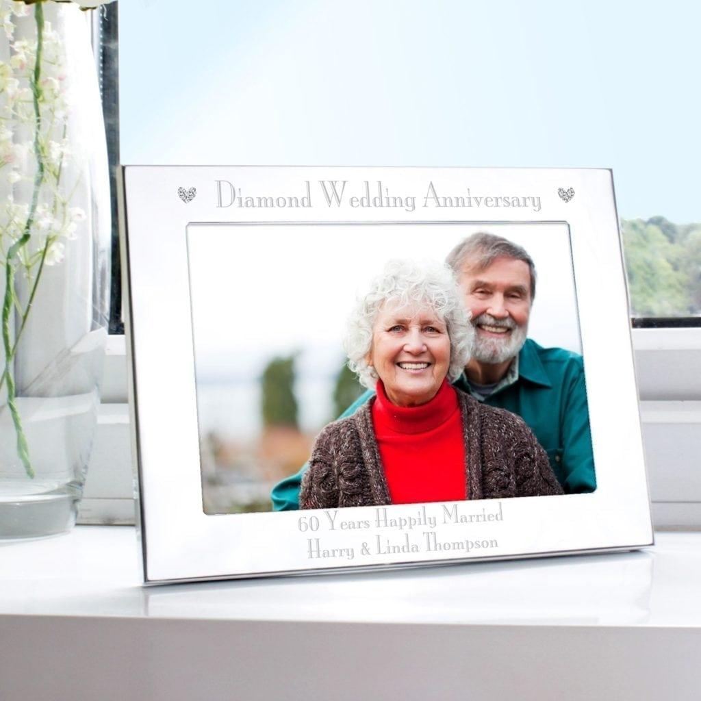 Personalised Silver 7x5 Diamond Anniversary Landscape Photo Frame