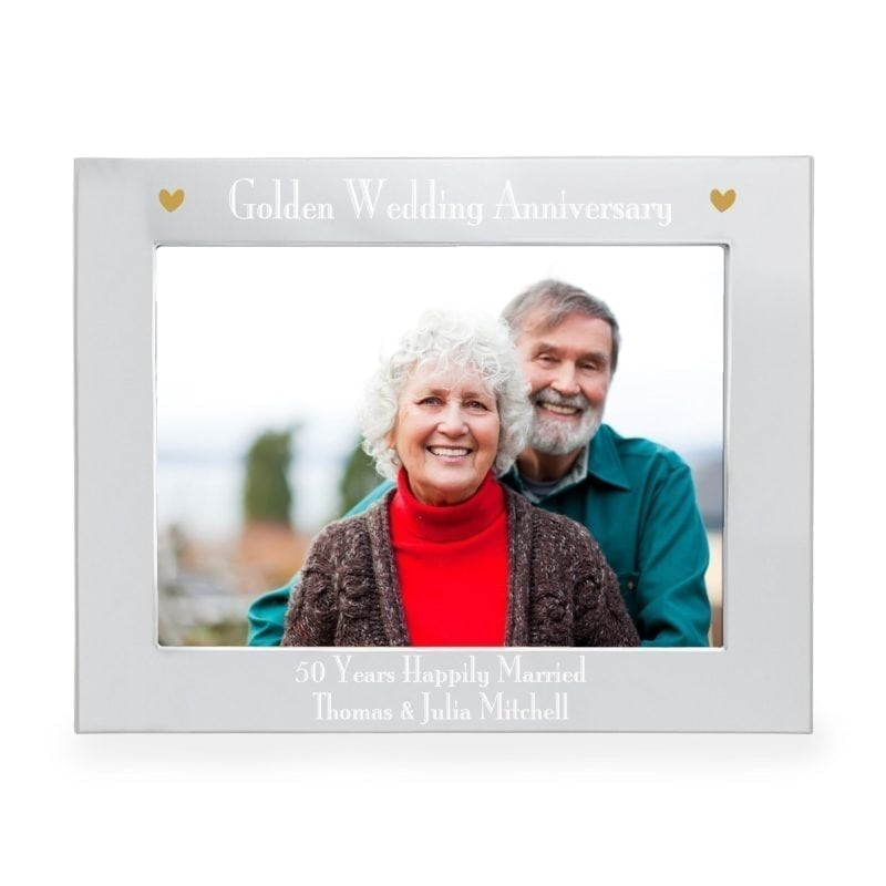 Personalised Silver 7x5 Golden Anniversary Landscape Photo Frame